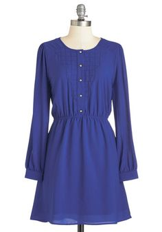Webmaster of Style Dress. This cobalt shirt dress is just right for creative thinking! #gold #prom #modcloth