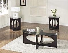 Add a bold geometric touch to your living or family room with the Standard Furniture Dania Occasional Table Collection . These tables feature cut-out. 3 Piece Coffee Table Set, Glass Top Coffee Table, Coffee Tables, Glass Furniture, Cool Furniture, Furniture Design, Office Furniture, Living Room Table Sets, Dining Table