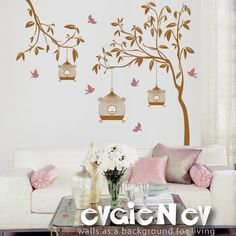 Wall Decal Wall Sticker - Garden Tree with Birdcage and Birds - TRGD010R. $110.00, via Etsy.
