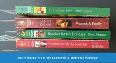 Picture of Seekerville Welcome Package Book Spines. This was a FUN article to write up because I had so many pictures to take! And goodies in the welcome package. | Read the whole article on MegsMinutes.com