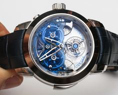 Ulysse Nardins Imperial Blue Watch With Flying Tourbillon And 4 Gong Sonnerie In Sapphire Hands On   hands on