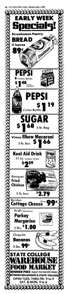 Vintage State College Warehouse Food Market Ad, Vimco Elbow Macaroni, May 4, 1981, Centre Daily Times, State College, PA, pg 32 (Viviano Macaroni Co, Carnegie, PA)