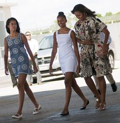 Michelle Obama is ending her whirlwind European tour on a sartorial high note, wearing Donna Karan.