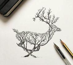 Alfred basha photos/art animal drawings, deer tattoo, how to Ink Drawings, Animal Drawings, Drawing Sketches, Animal Illustrations, Tattoo Sketches, Deer Drawing, Drawing Drawing, Drawing Ideas, Pencil Drawings Of Nature