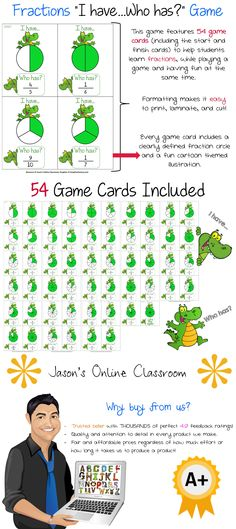 Fractions Game - I Have, Who Has? - This owls themed fractions game features 54 fraction owls game cards. It includes fractions from 1/2 to 10/10, and features an answer key so the teacher can easily follow along as the game is played by students.$