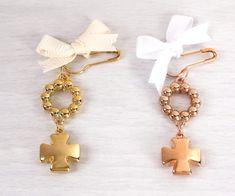 24K Gold Plated Martirika / Witness Pins – Elektra's Eklectic Godchild, White Crosses, Christening, Plating, Rose Gold, Drop Earrings, Beads, Handmade, Jewelry