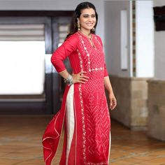 In a fiery red, the beautiful looks fabulously festive in handcrafted is dressed in our Nadira Kurta. Kurti Neck Designs, Kurti Designs Party Wear, Churidar Designs, Indian Dresses, Indian Outfits, Indian Attire, Indian Wear, Indian Designer Outfits, Designer Dresses