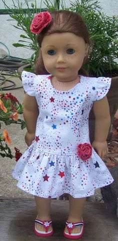 American Girl Doll Clothes American Stars Patriotic Flutter Sleeve Dress with… Sewing Doll Clothes, Sewing Dolls, Girl Doll Clothes, Doll Clothes Patterns, Girl Dolls, Doll Patterns, Ag Dolls, Diy Clothes, American Girl Crafts