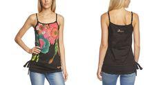 #Desigual Shirt - Modell Werk, Muster: floral, schwarz. Gehäkelter Bund.