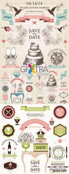 Vintage Wedding Design Elements Vector - http://scriptnull.com/vintage-wedding-design-elements-vector/