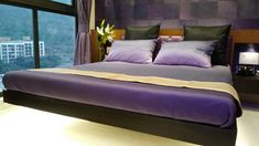 A bed .. Purple room