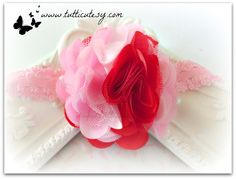 Pink and Red Flower Headband by tutticutesytutus on Etsy