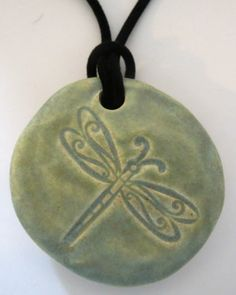 DRAGONFLY  Pendant / Necklace  Ceramic  OLD by InnerArtPeace