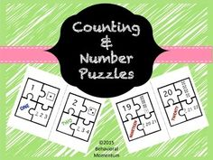 This product contains puzzles with numbers 1-20.  Each puzzle has four pieces (numeral, written number, dice dots, and counting sequence.  Laminate, cut, and let students find the pieces that correspond to each number.