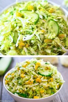 You are going to fall in love with the combination of cabbage, crunchy cucumbers, and sweet corn. This Cabbage Salad with Corn is so easy to make and it's bursting with flavors and vitamins! FOLLOW Cooktoria for more deliciousness! If you try my recipes - share photos with me, I ALWAYS check! Best Salad Recipes, Good Healthy Recipes, Raw Food Recipes, Vegetarian Recipes, Dinner Recipes, Cooking Recipes, Vegan Vegetarian, Napa Cabbage Recipes, Napa Cabbage Salad