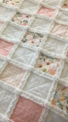 Blush pink and white floral baby rag quilt. Eyelet and minky shabby chic baby quilt. Baby Rag Quilts, Shabby Chic Baby, Wood Worker, Stroller Blanket, Baby Girl Blankets, Girl Shower, Floral Watercolor, Crib, Blush Pink