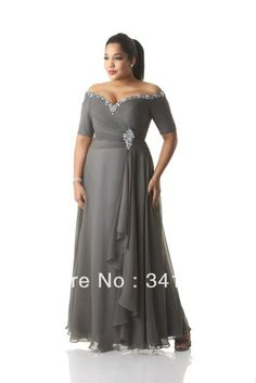 Nova moda Plus Size mãe dos vestidos de noiva Chiffon de manga curta V Neck frisado frete grátis EL347.1