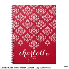Chic Red And White French Damask Personalized Notebook