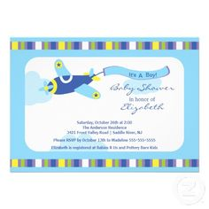 baby shower invitations for boys | ... baby boy airplane boy baby shower invitation featuring a colorful blue
