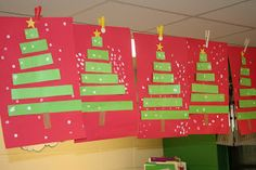 Christmas trees made of different sized green strips. White Q tip dots for snow. So simple, I like it!