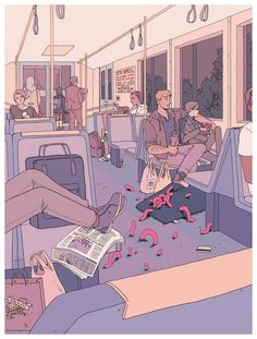 """commute"" by f choo Print available at http://www.inprnt.com/gallery/fchoo/commute/?utm_content=buffer139a5&utm_medium=social&utm_source=pinterest.com&utm_campaign=buffer #artprint #art #illustration"