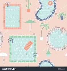 Pool Plants, Pool Fun, Cool Pools, Map, Pattern, Pools, Plants, Patterns, Illustrations