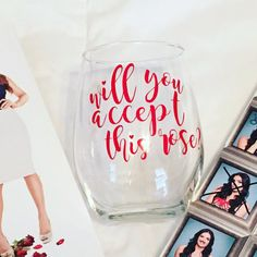 Will You Accept This Rose Stemless Wine Glass  by culleycreations