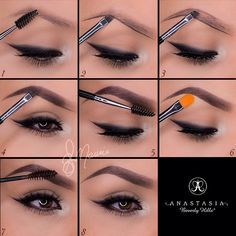 """New updated Brow pictorial one of the top questions asked is how I do my brows and here it is! Hope this is helpful! All products shown are from @Anastasiabeverlyhills✨✨ 1.Start by taking the spoolie side of the double sided brush #12 and comb through the brow hairs 2.Taking Dipbrow in """"Ebony"""" with the same brush, line the bottom of the brow following your own natural shape! 3.For a more defined brow, line the top of the brow 4.Fill in the empty space with light strokes and in the ..."""