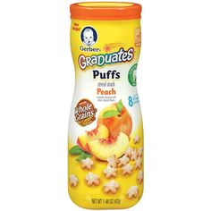 "Gerber Graduates Puffs Cereal Snack, Peach, Naturally Flavored with Other Natural Flavors, 1.48 ounce - Gerber Foods - Babies ""R"" Us"