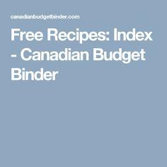 Free Recipes: Index - Canadian Budget Binder