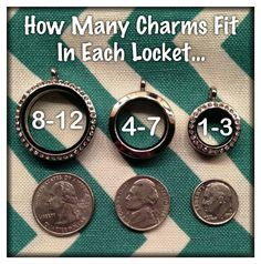Origami Owl Living Lockets - Large, Medium, Mini - How many Charms fit in each locket - Lockets start at $20 and go up to $40! www.amandaknoll.origamiowl.com #Lockets #Charms #LivingLockets #OrigamiOwl #O2 #Sizes #HowManyCharmsFitInEachLocket #Quarter #Nickel #Dime #Large #Medium #Mini #Crystals