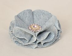 Upcycled Denim Flower Accessory Clip by LittlePrincessPea on Etsy, $9.00