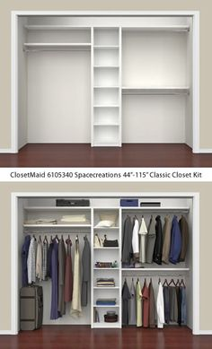 Closet Organizers 586593920201621372 - ClosetMaid 6105340 Spacecreations Classic Closet Kit – ClosetMaid Spacecreations Closet Organizers – Get Decluttered Now! Source by Wardrobe Room, Wardrobe Design Bedroom, Bedroom Cupboard Designs, Bedroom Cupboards, Master Bedroom Closet, Small Master Closet, Narrow Closet, Wardrobe Storage, Closet Renovation