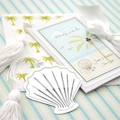 """A Jewel From the Sea"" Seashell Bookmark - BlissfulFavors.com"