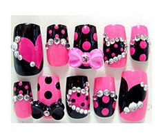 shagadelic ~ pink and black nails with bows , hearts and dia... - Polyvore