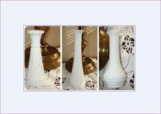 Three MILK GLASS Bud Vases, Pressed White Glass, Vintage Milk Glass, Romantic Wedding, French Cottage Decor, Cottage Chic, Flower Vase by BackStageVintageShop on Etsy