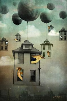 And the houses took flight like birds with balloons, floating higher and higher towards the stars.
