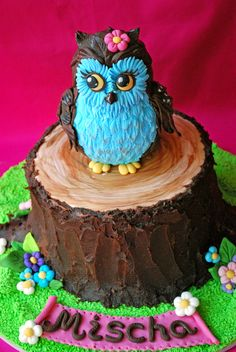 Owl cake - Owl is made out of two foam balls  different sizes covered with sugarpaste. For the feathers i used rose leaves plunger cutter (medium and small) :)