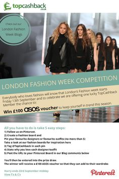 London Fashion week SS14 - Enter our competition to win a £100 ASOS voucher @TopCashback