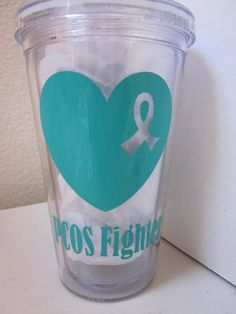 PCOS Fighter Heart Ribbon Tumbler (In Teal) Tumbler, Mason Jar or Sports Bottle by WhiteLotusCrafting on Etsy https://www.etsy.com/listing/193640223/pcos-fighter-heart-ribbon-tumbler-in