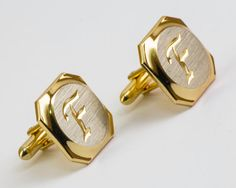 Vintage Cufflinks Letter F Cuff Links Silver and by CuffsandClips, $19.80