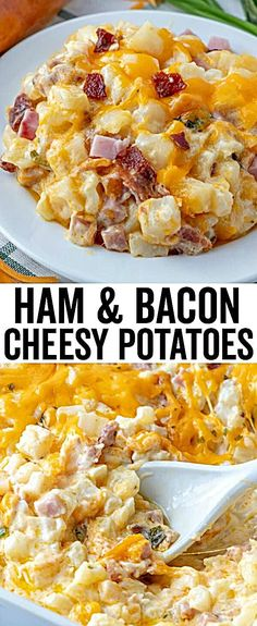 Ham & Bacon Cheesy Potatoes – The Perfect Cheesy Side Dish! Ham & Bacon Cheesy Potatoes – The Perfect Cheesy Side Dish!,Easy casserole recipes Hearty, creamy and flavorful these Cheesy Potatoes are filled with. Bacon Cheese Potatoes, Cheesy Potatoes, Healthy Potatoes, Bacon Bacon, Ham And Scalloped Potatoes, Cheesy Potato Casserole, Diced Potatoes, Bacon Bits, Easy Casserole Recipes