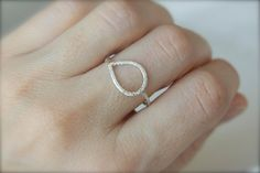 Pave Finish Teardrop Ring in 14k Yellow Gold by erinjanedesigns