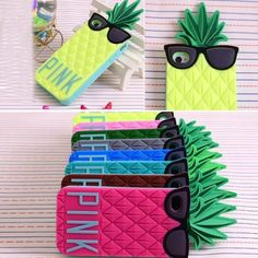 Victorias secret pink 3D Glasses Pineapple Design Silicone Soft Case For iPhone 6 47PLUS 55 inch 5 5G 5s 4 4G 4S
