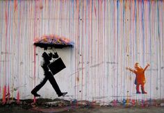 The difference between work and childhood... Street Art by Skurktur, Norway