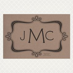 Pad of (50) 12 x 18 recycled kraft paper placemats. Customize this monogrammed placemat for no additional charge. Super cute graduation gift.
