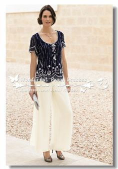 Delicate Chiffon with Beading Two piece mother of the bride pants suits