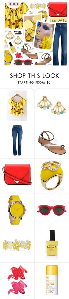 """Yoins 2 - Ruffles+Flared Jeans+Ankle strap Sandals"" by anyasdesigns ❤ liked on Polyvore featuring Alexander Wang, Nina Ricci, Nixon, Yves Saint Laurent, Liz Claiborne, Lauren B. Beauty, Stila and Clinique"