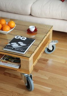 pallet as coffeetable. More relaxed for the basement than the livingroom