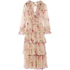 Zimmermann Zimmermann - Winsome Tiered Crinkled Silk-chiffon Dress -... (€775) ❤ liked on Polyvore featuring dresses, zimmermann, floral print midi dress, floral slip dress, pink frilly dress, floral midi dress and pink midi dress